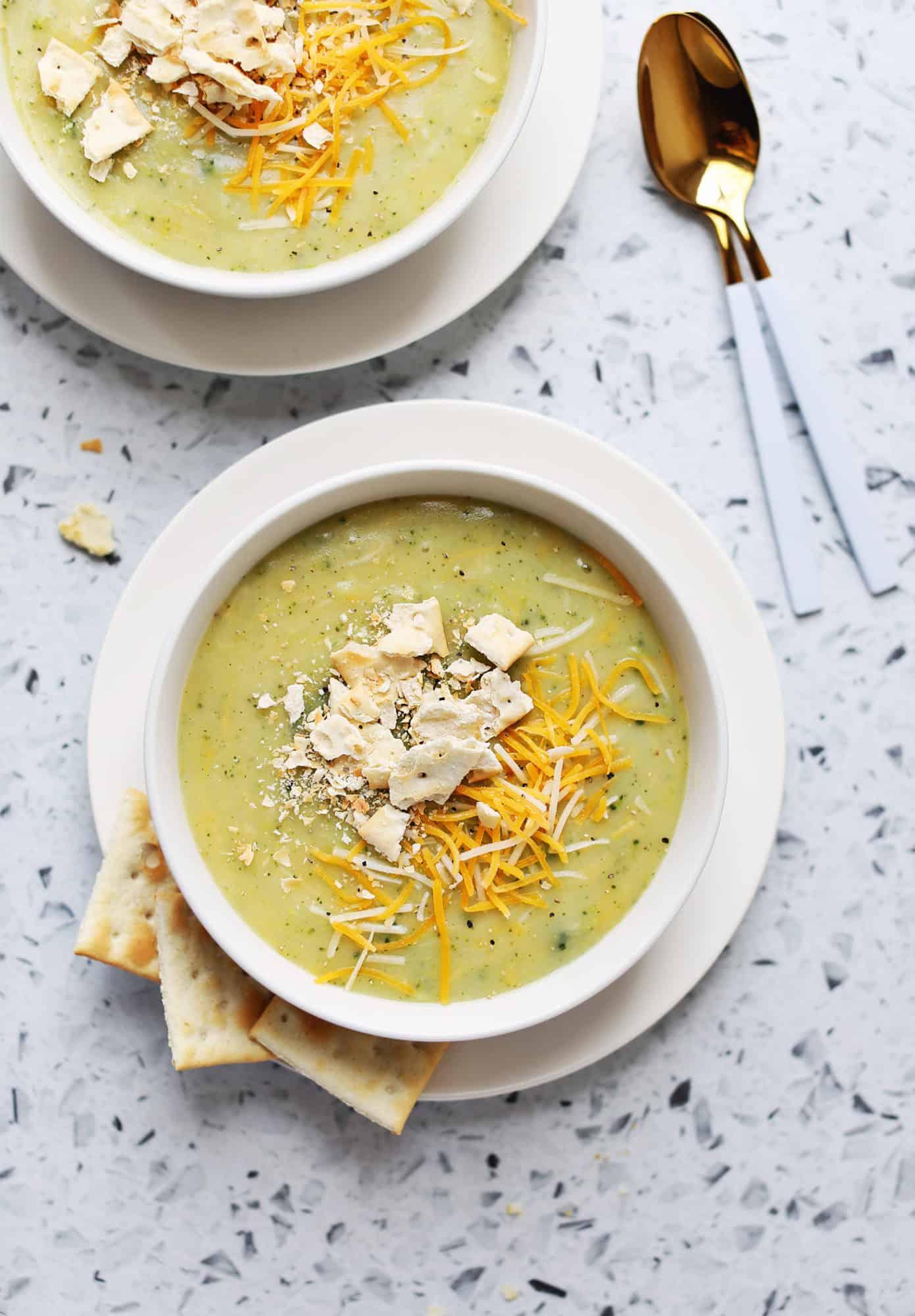 Baked potato and broccoli cheddar soup