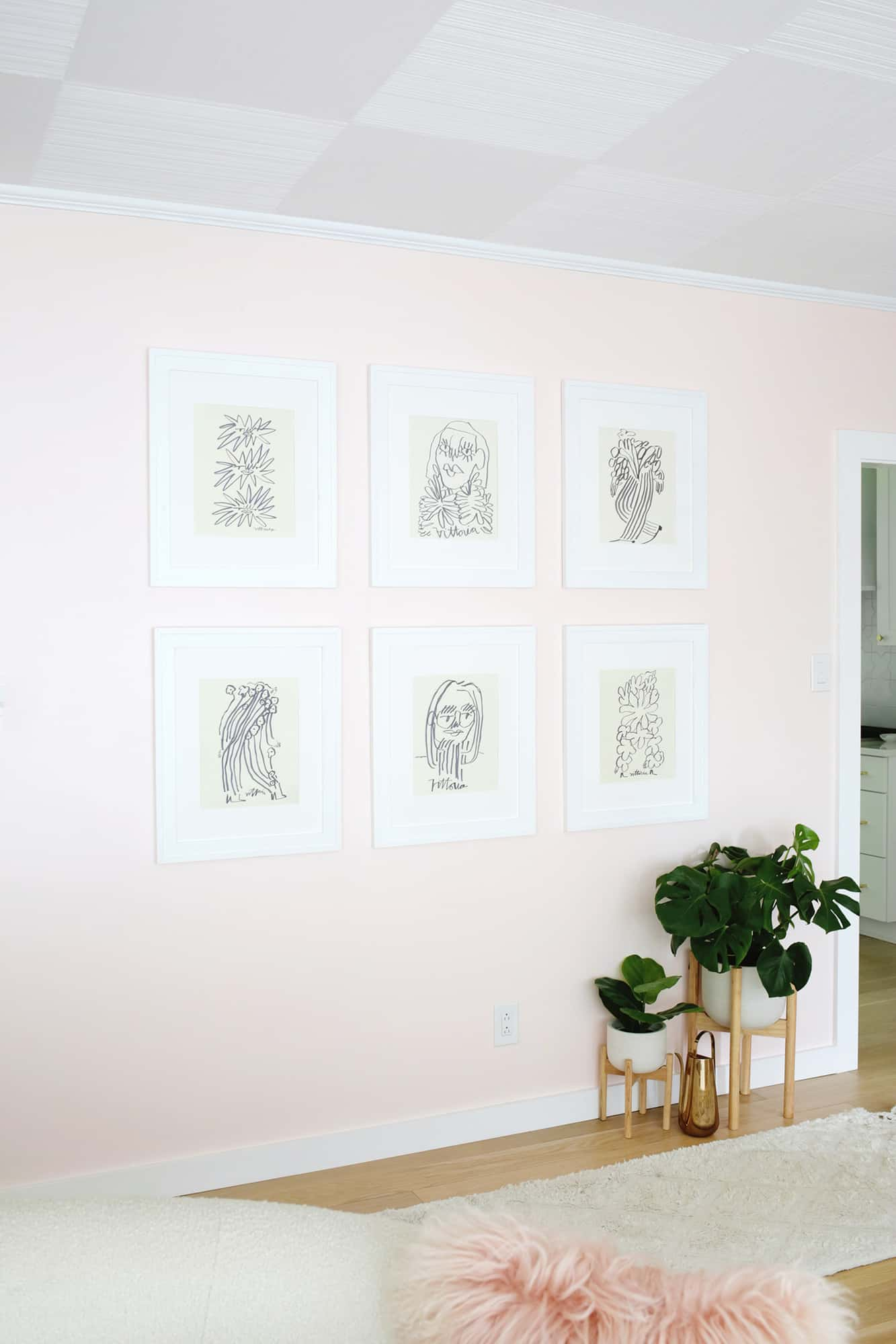 view of gallery wall in living room