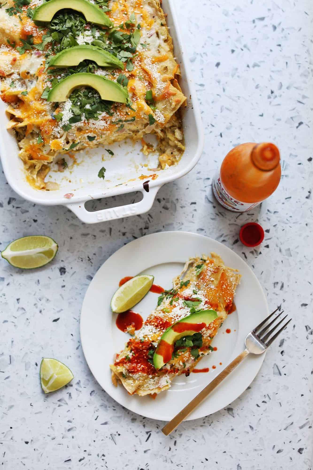 Easy chicken verde enchiladas