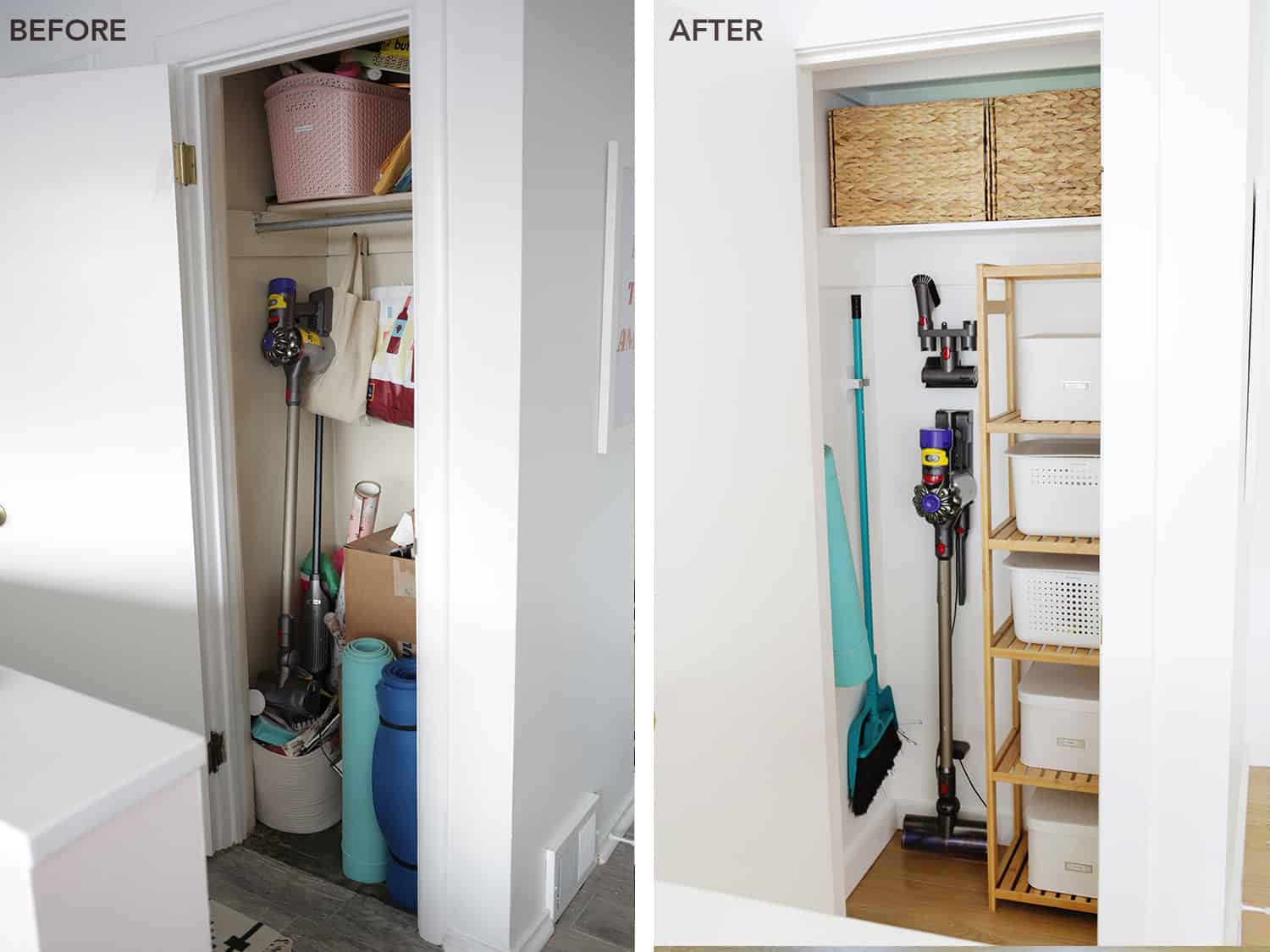 Before and after of an organized closet