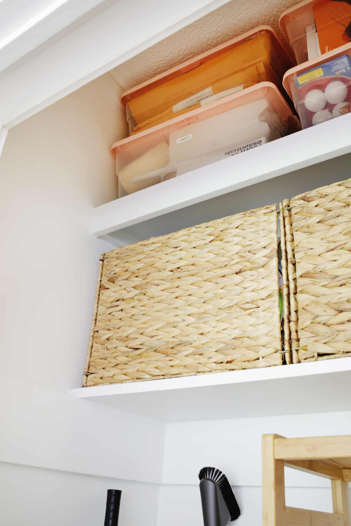 Storage boxes on a shelf