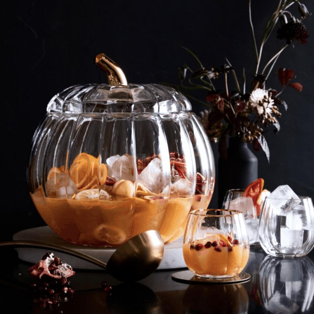 glass pumpkin punch bowl
