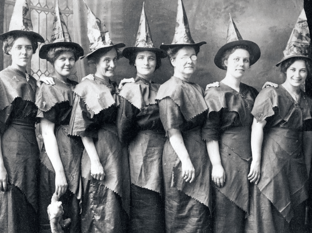 old photo of women dressed as witches