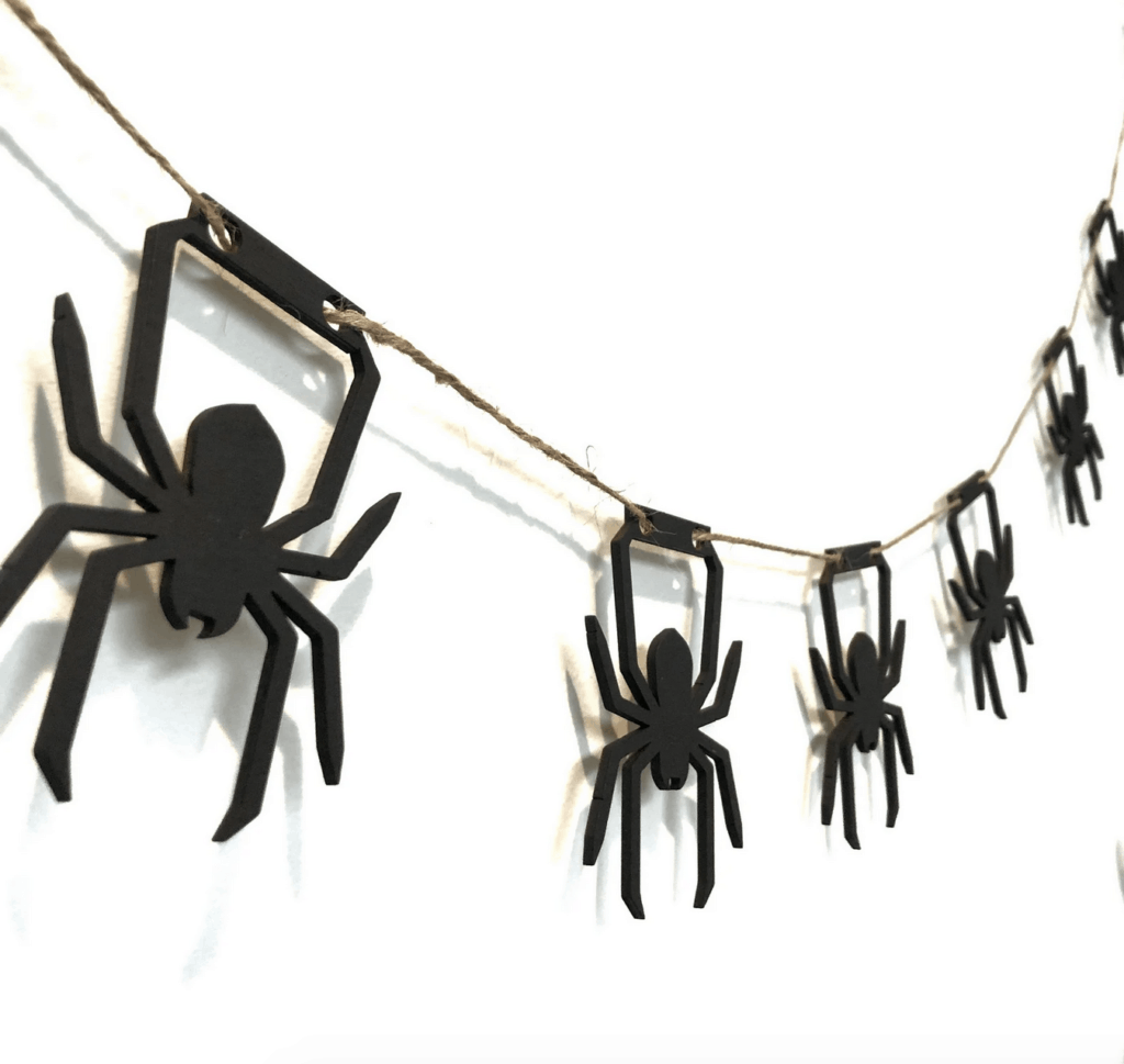wooden spider garland