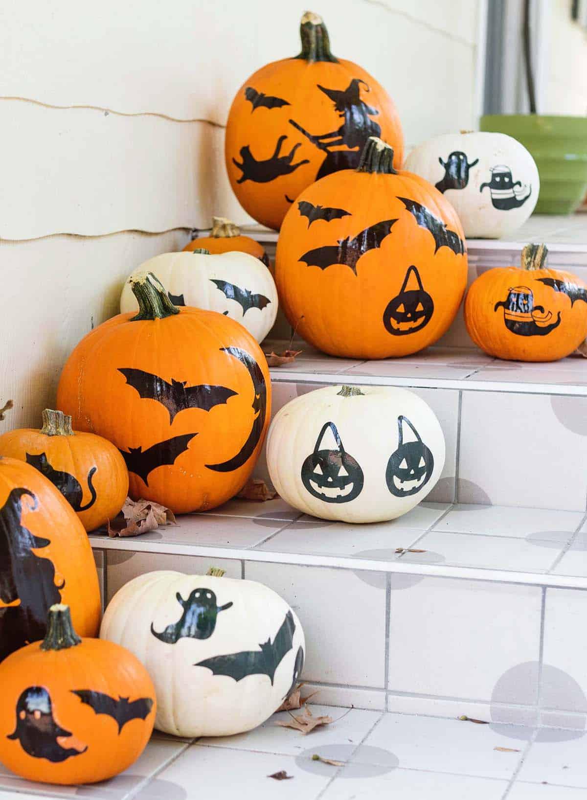 Pumpkins with spooky designs