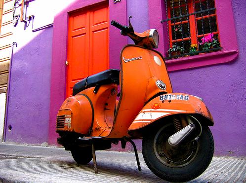 Orange-colored-vespa