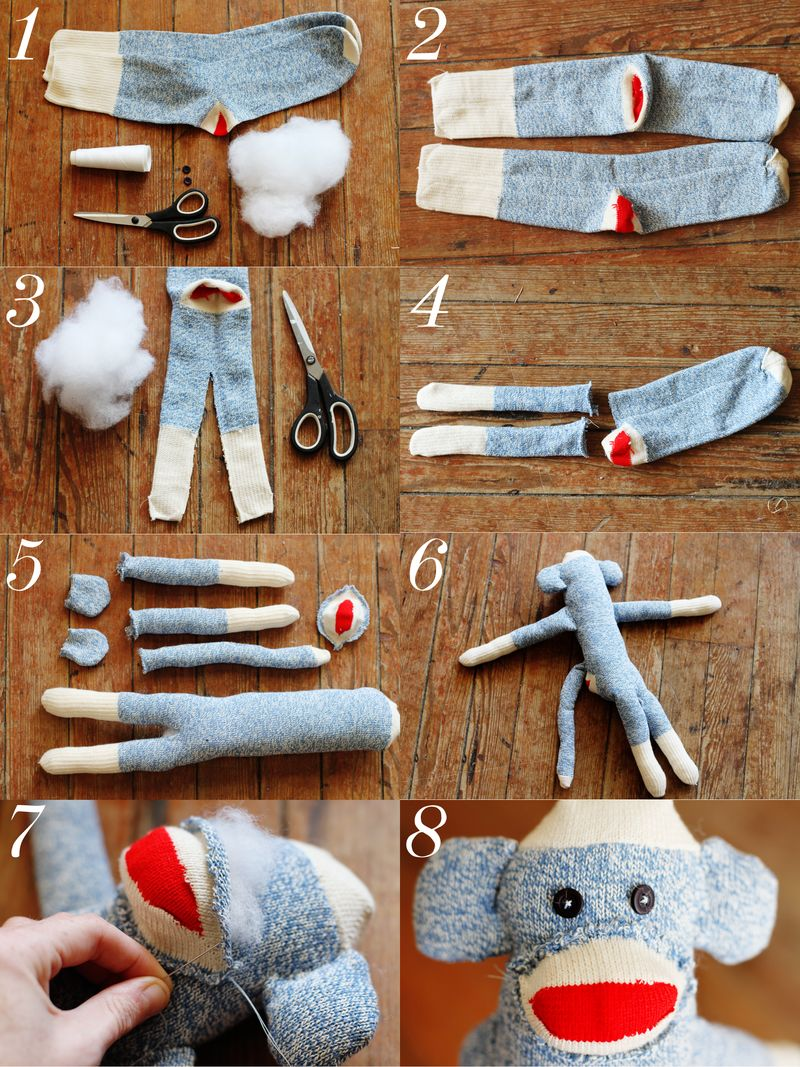 DIY sock monkey steps