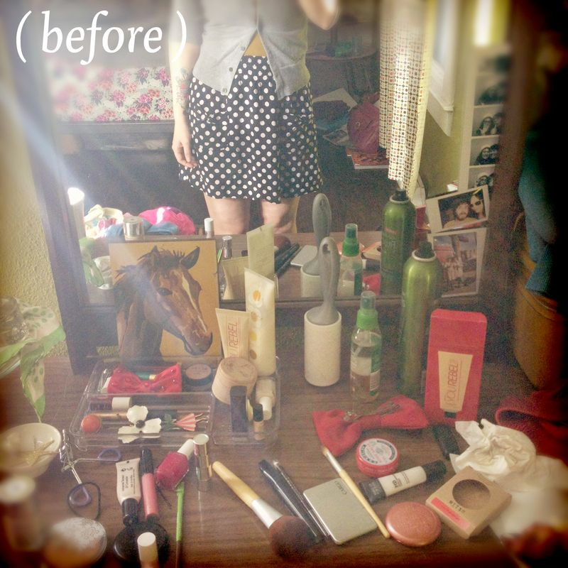 Here S What My Dresser Top Looked Like Before Yikes Makeup Organization 4