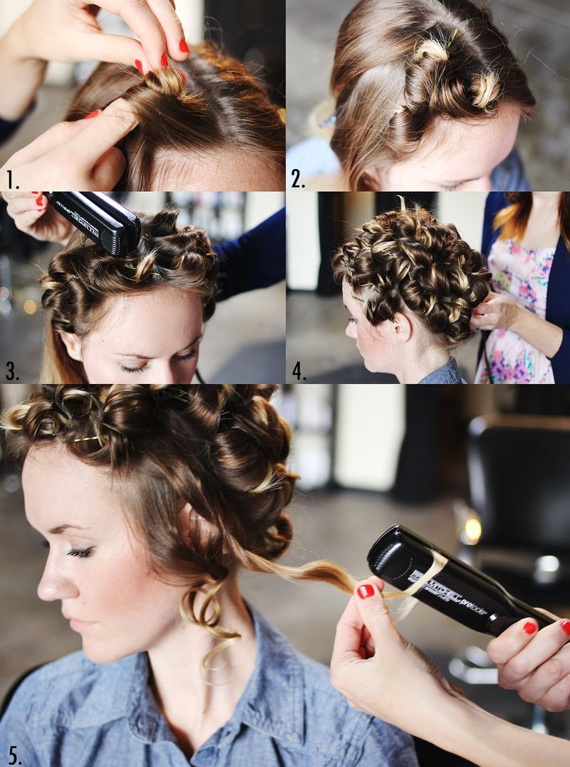 How to style flat iron curls steps