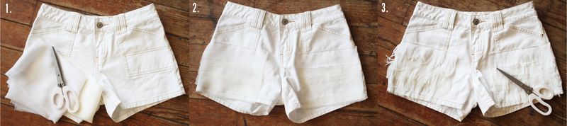 White fringe shorts