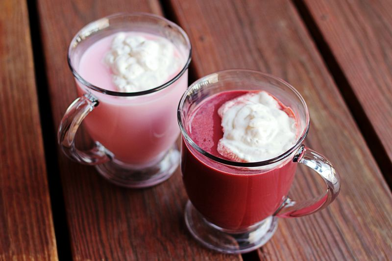 Red velvet and pink hot chocolate
