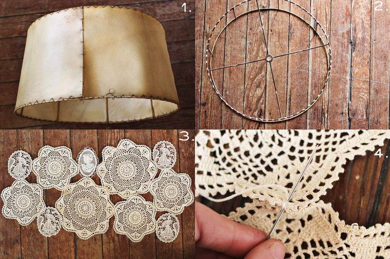 Doily Covered Lamp Shade Project A