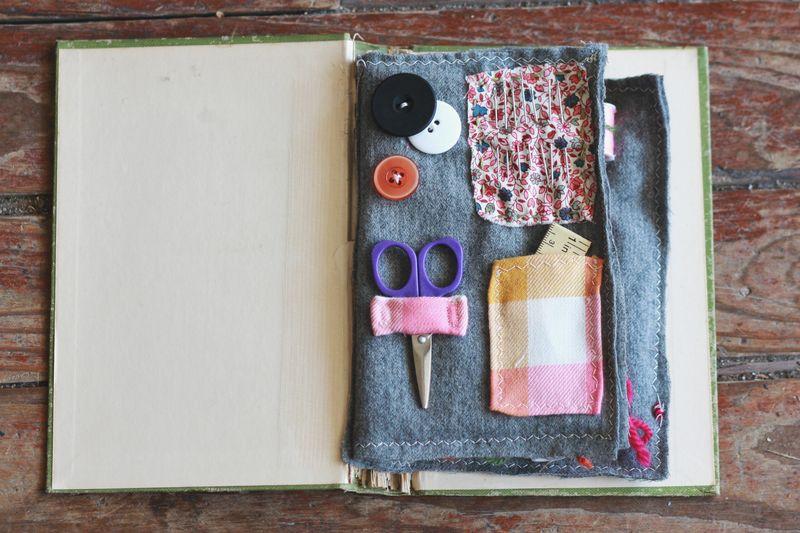 Vintage book sewing kit 4