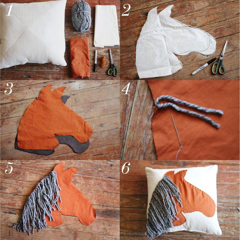 Horse pillow steps DIY