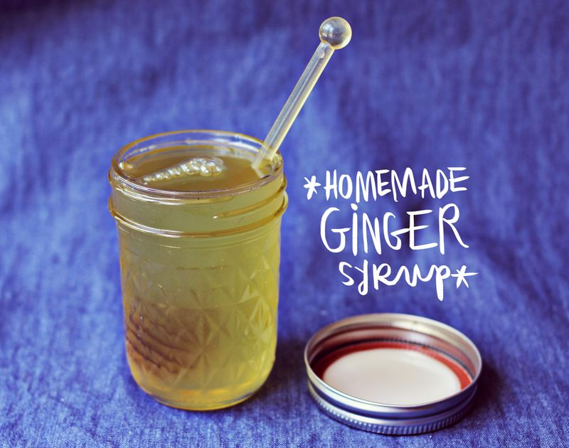 Homemade ginger syrup + candied ginger