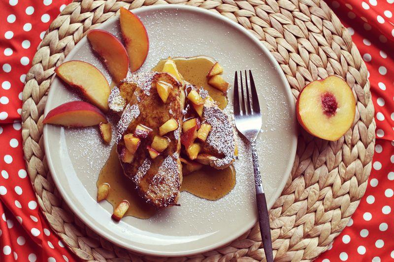 Peaches and Cream Stuffed French Toast Recipe via A Beautiful Mess