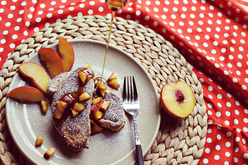 Peaches and Cream Stuffed French Toast Recipe on A Beautiful Mess
