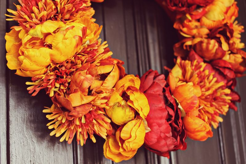 Autumn Floral Wreath via A Beautiful Mess