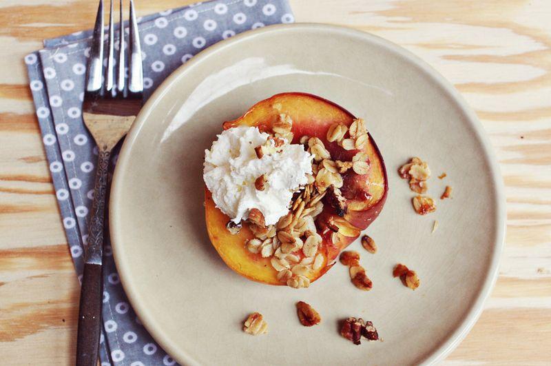 Baked peach parfait