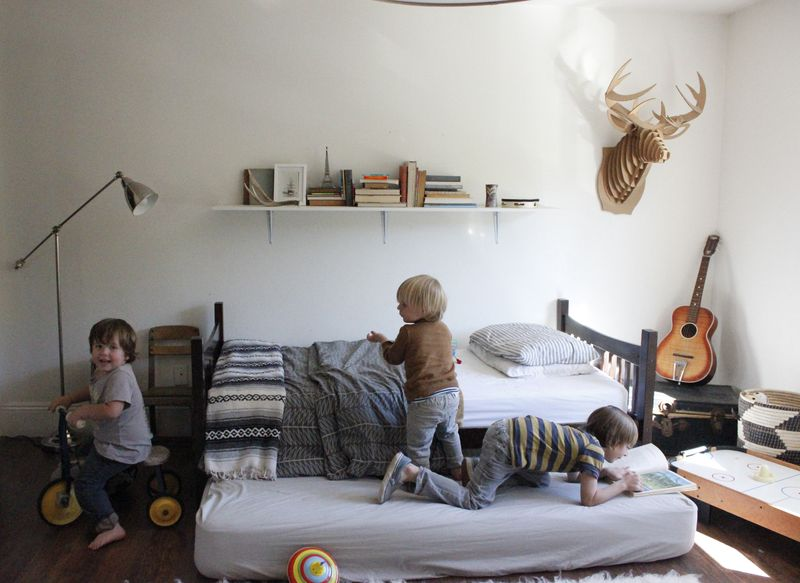 Playful boys in an adorable room