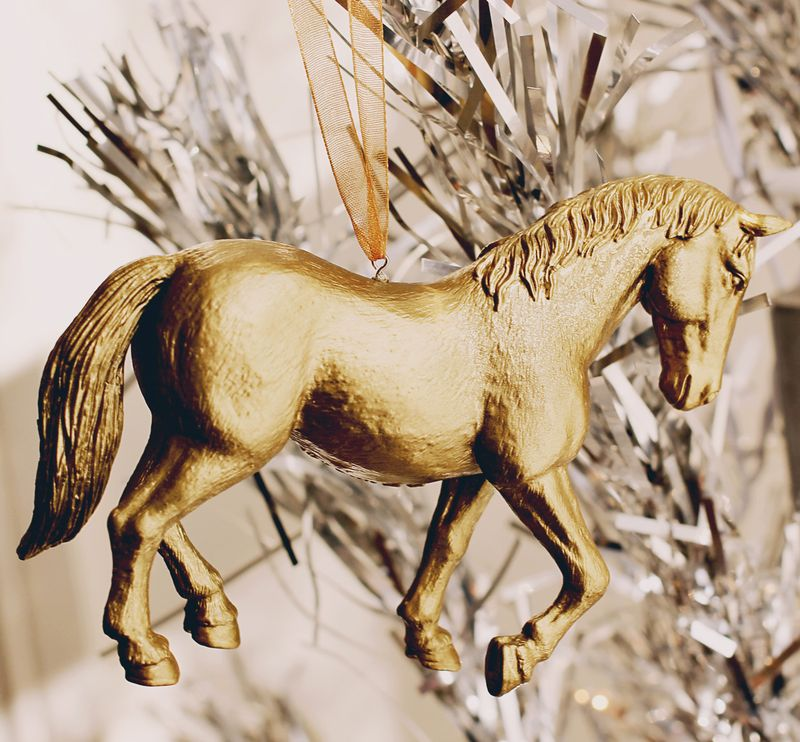 Gold Painted Horse Ornament