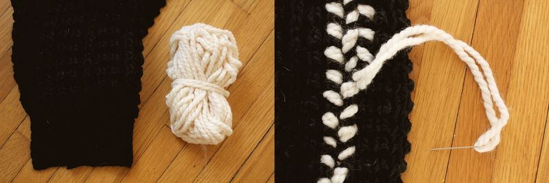Black and white crocheted scarf diy (1)
