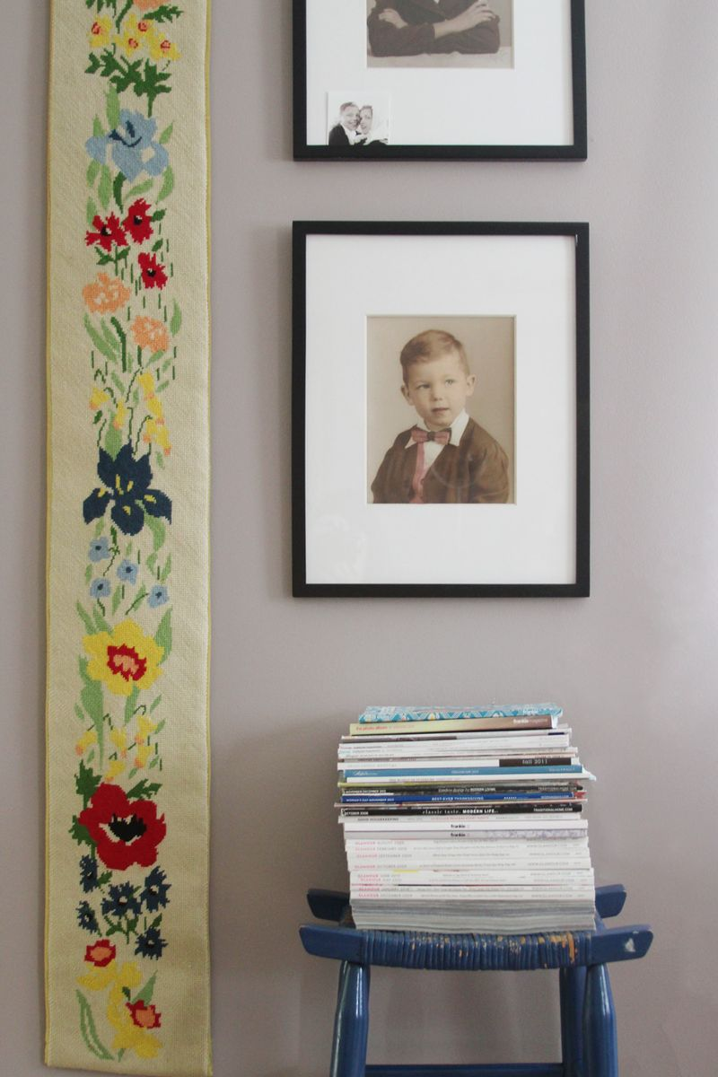 Vintage photos used for living room decor