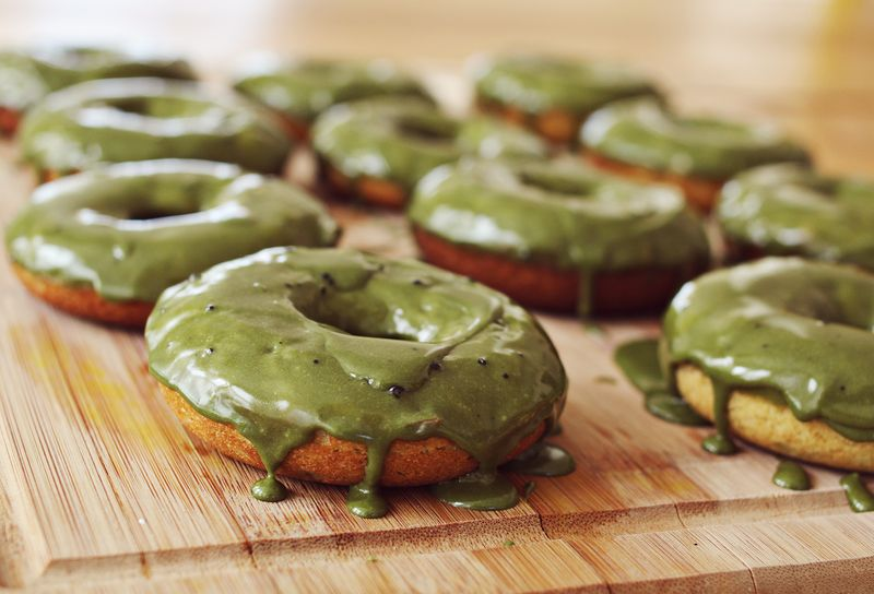 Buttermilk and green tea donuts