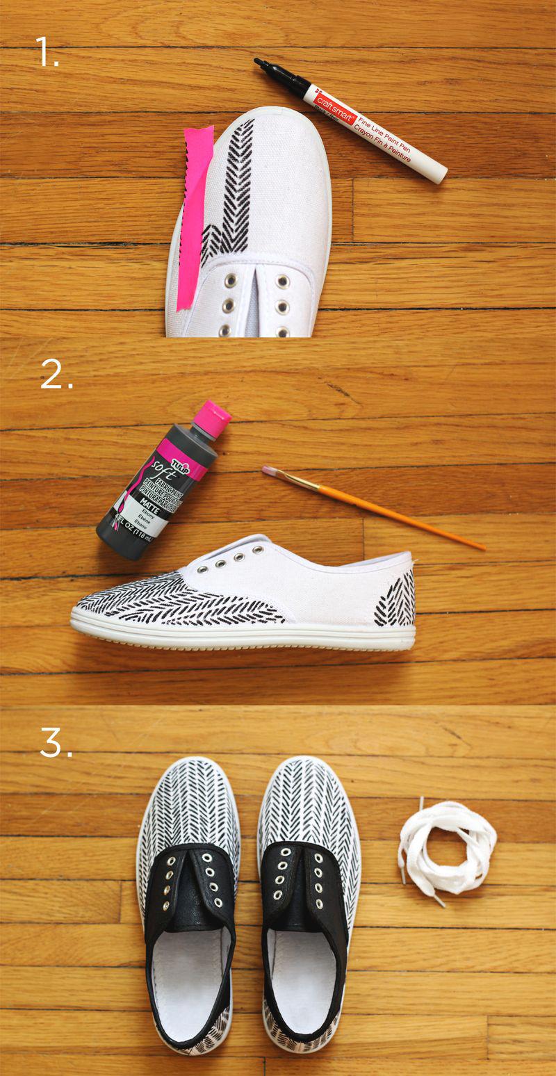 DIY Herringbone Sneakers
