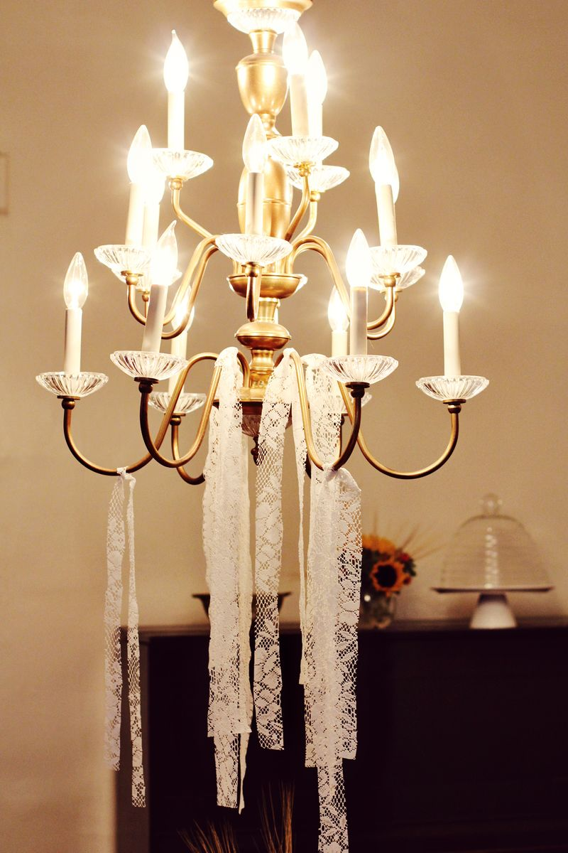 Chandelier with lace fabric