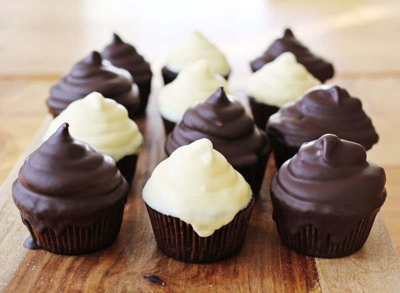Black and white hi hat cupcakes