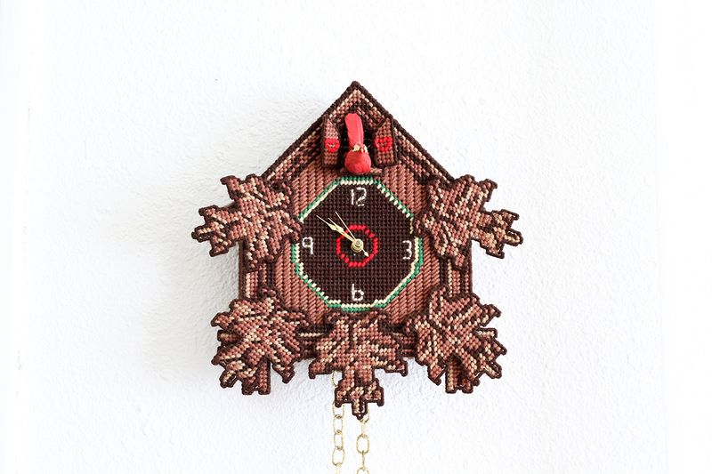 Adorable vintage plastic-canvas cuckoo clock