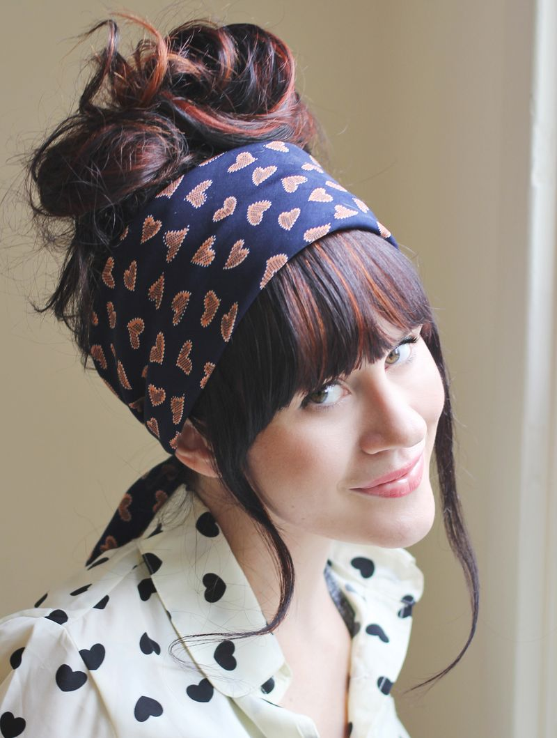 Scarf Styling: Messy Bun with Wide Headband