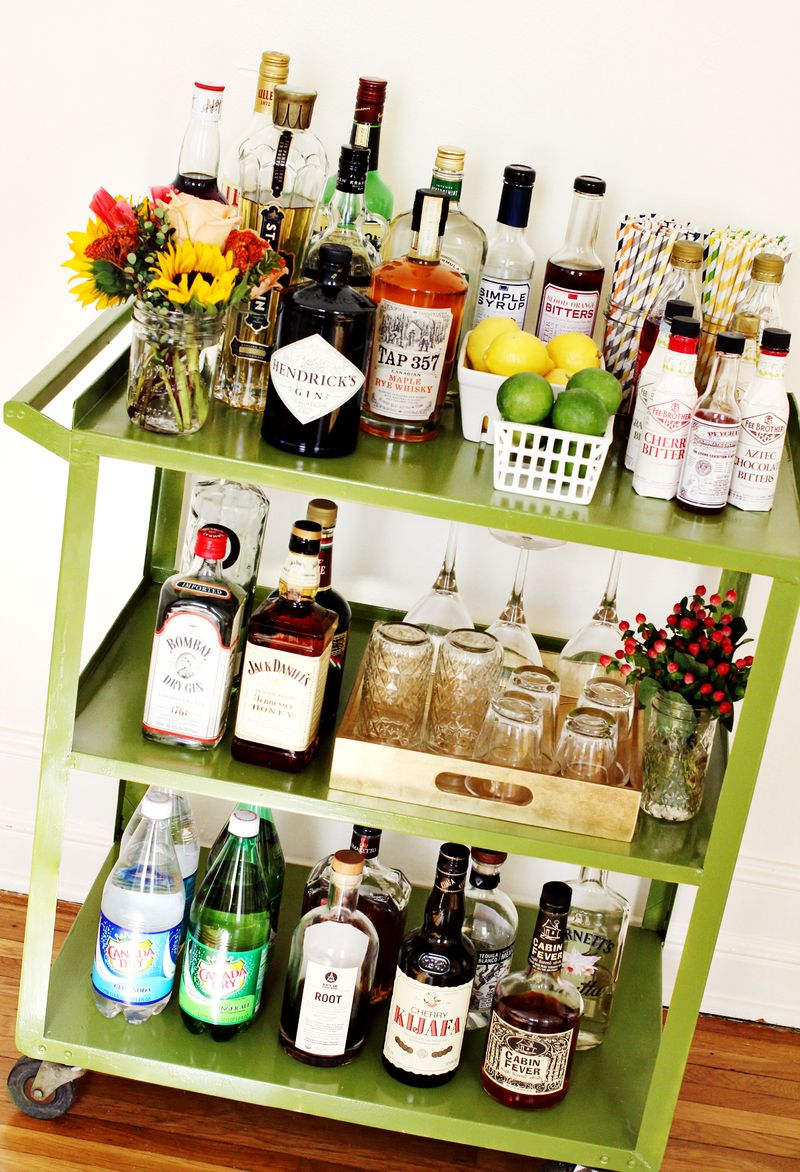 ReStyled Bar Cart via A Beautiful Mess Blog