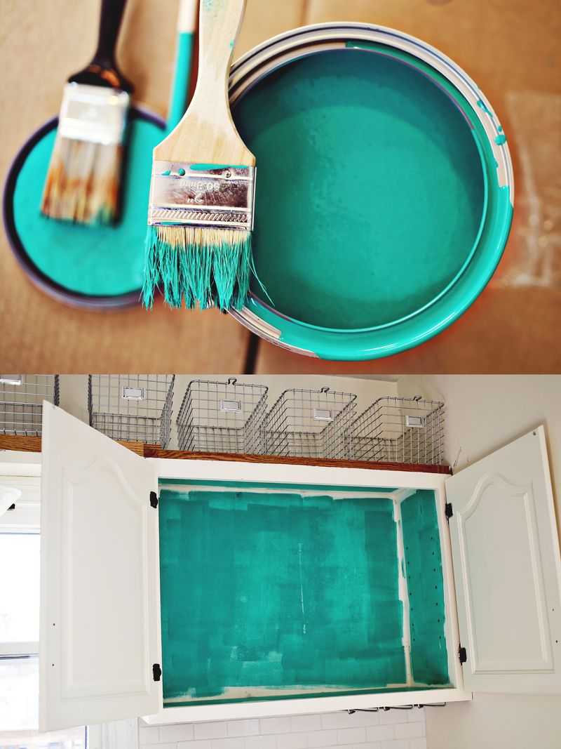 Nesting: Colored Kitchen Cabinets