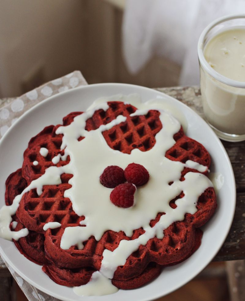 Red velvet waffles with cream cheese frosting recipe