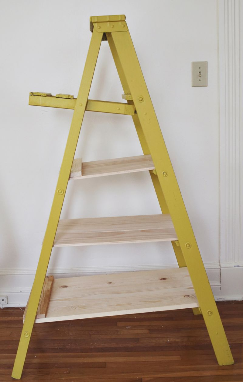 How to retro fit shelves to a ladder