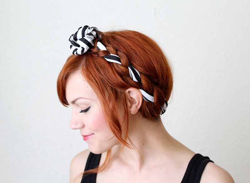 Adorable maiden braid with fabric