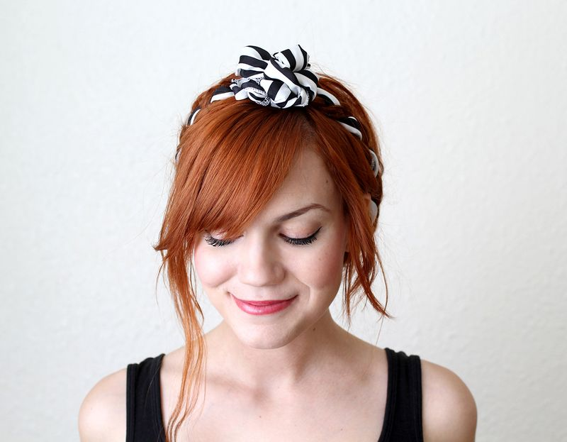 Adorable maiden braids with knotted fabric tutorial