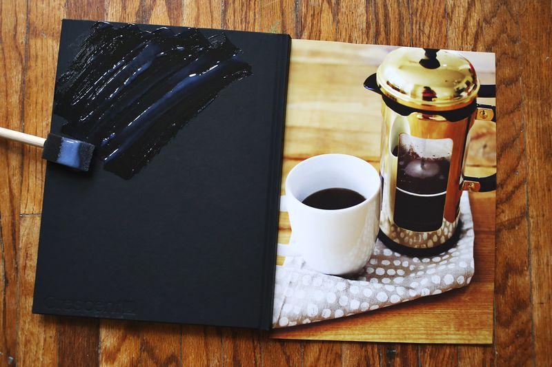 Make a photo covered journal! step 1 www.beautifulmess.com