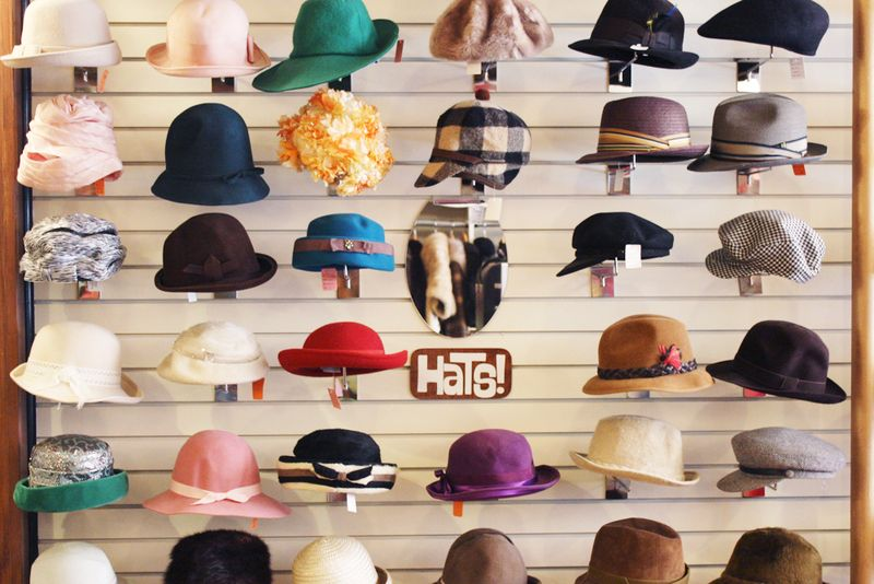 Adorable vintage hat wall