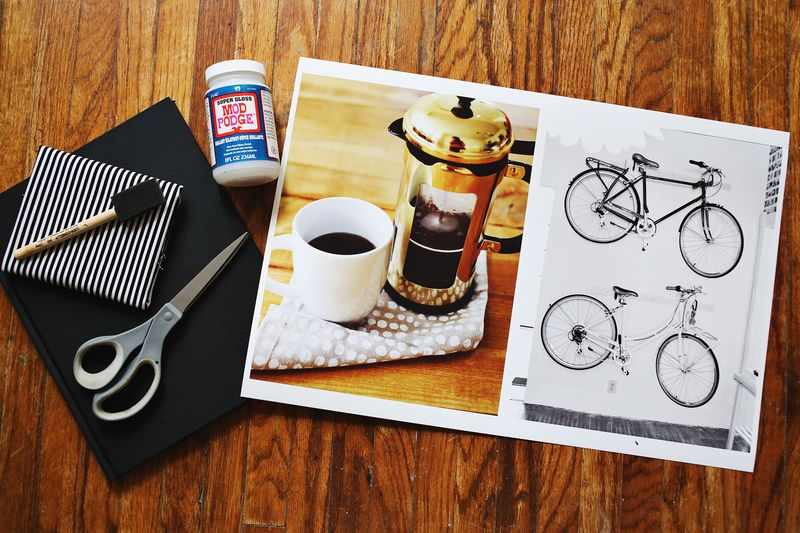 Make a photo covered journal! supplies www.beautifulmess.com