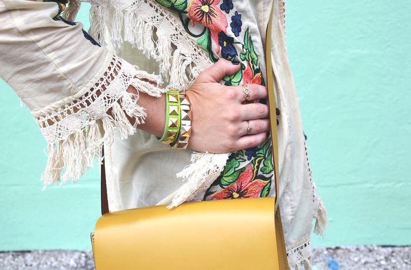 Wearing a DIY leather studded bracelet!