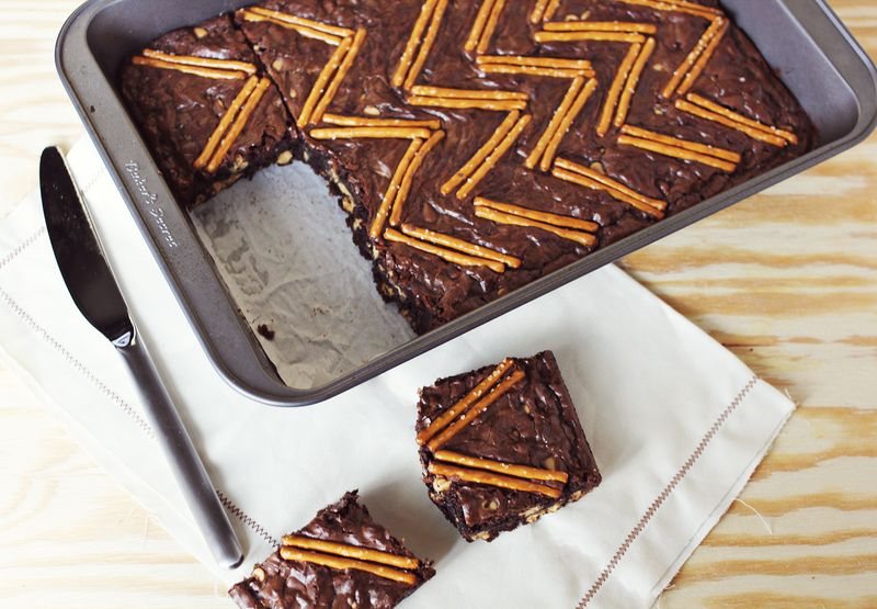Peanut butter and pretzel brownie