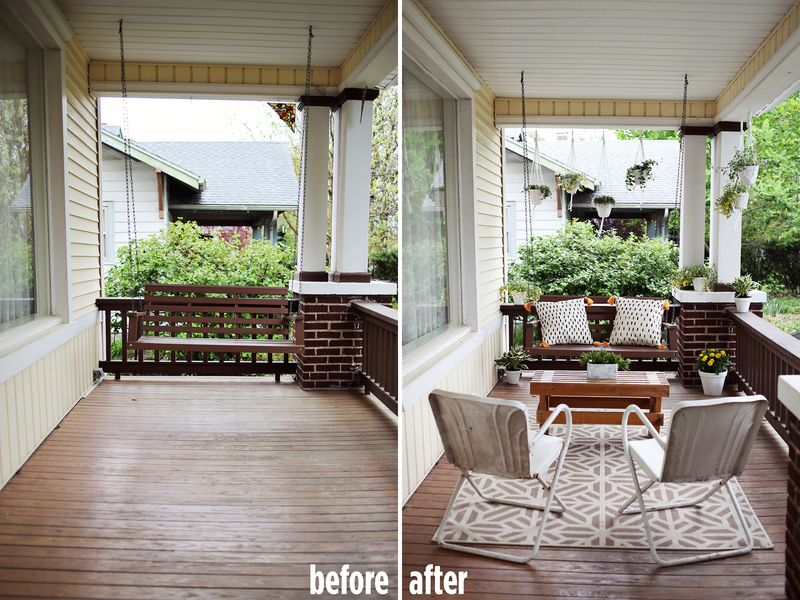 Elsie's Front Porch (before+after) www.abeautifulmess.com