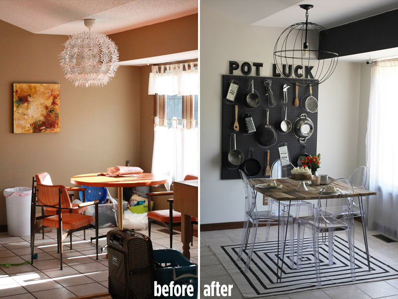 A Beautiful Mess dining room before and