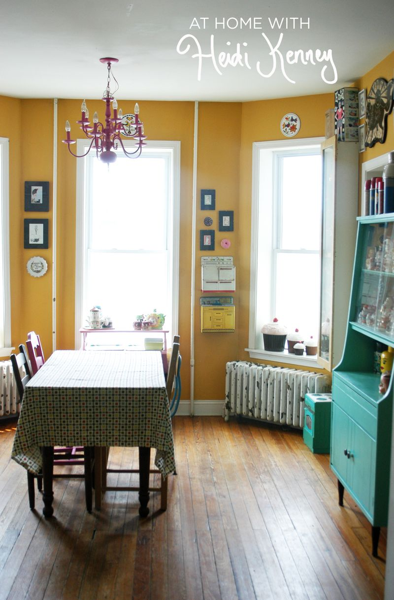 glamorous mustard yellow color living room | At Home With Heidi Kenney - A Beautiful Mess