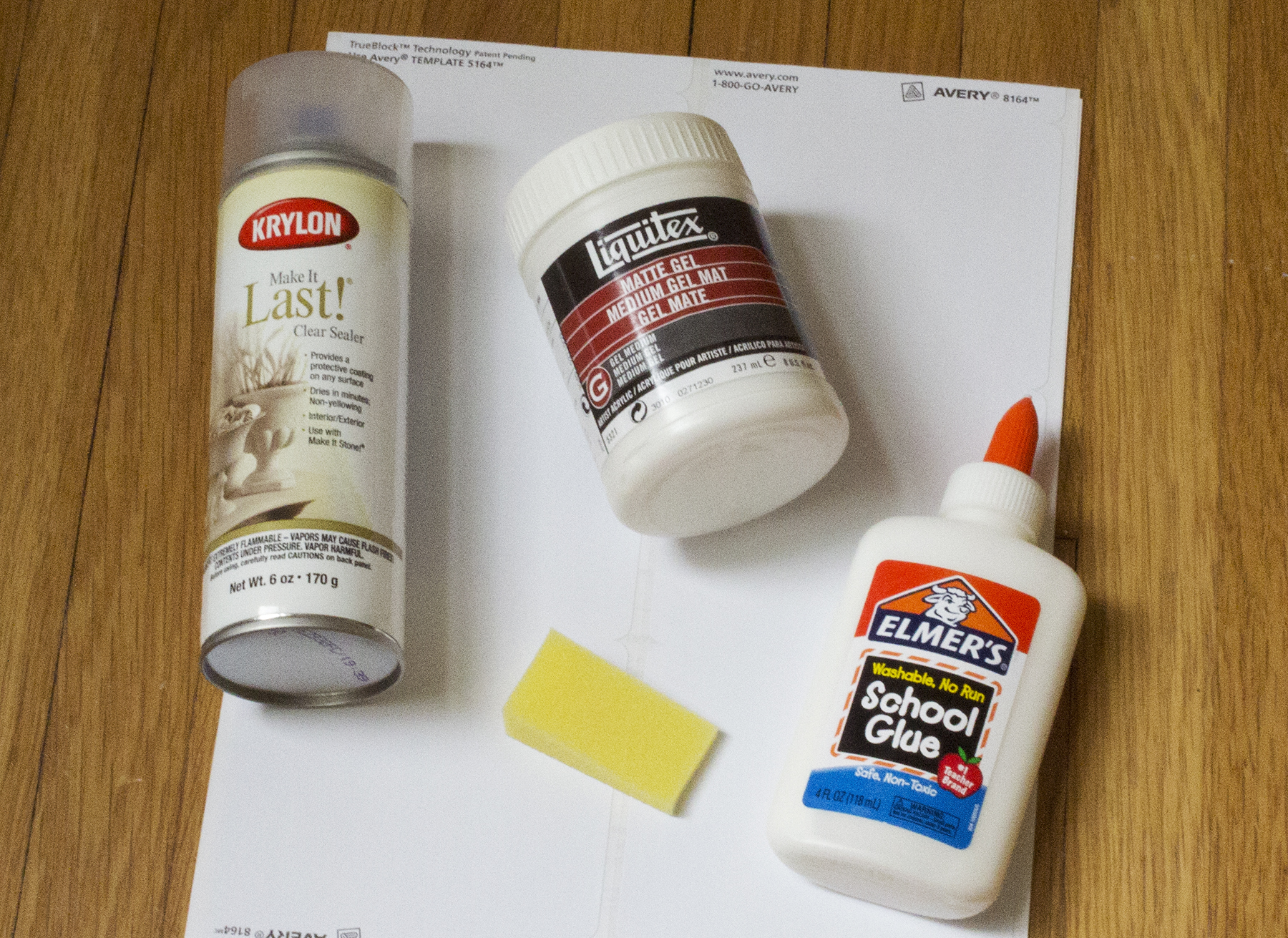 Supplies to make a wood transfer