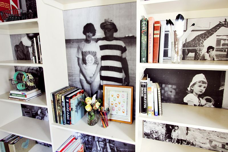 Family photo book shelf