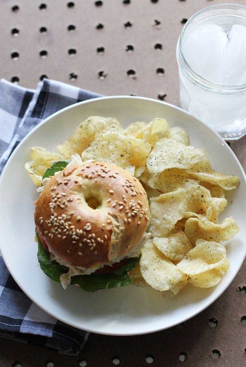 Egg bagel tuna sandwich